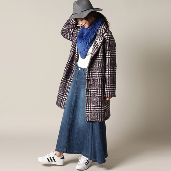 【CARA O CRUZ】 Check Coat